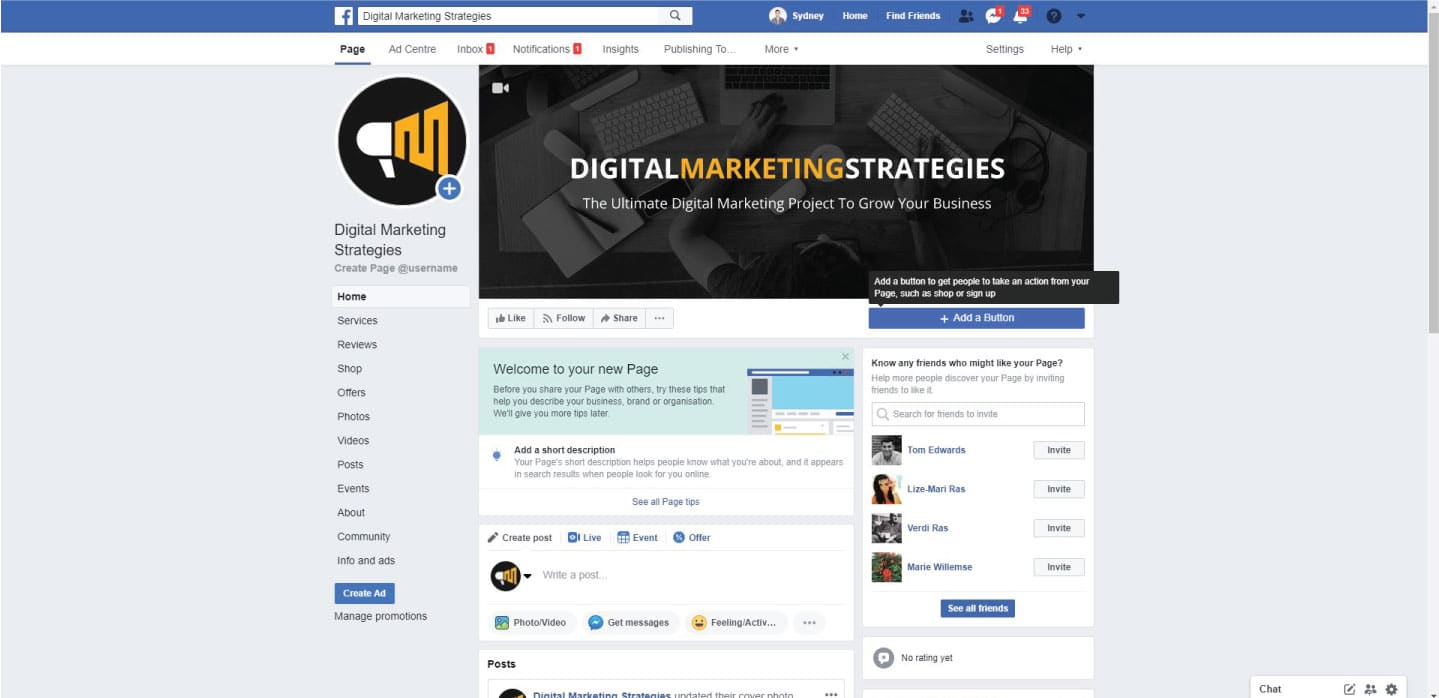 RAS Digital Marketing Facebook Page Example