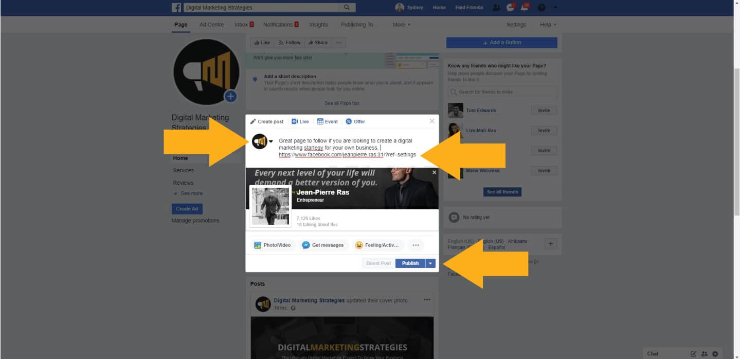 How to post a link on your Facebook business page