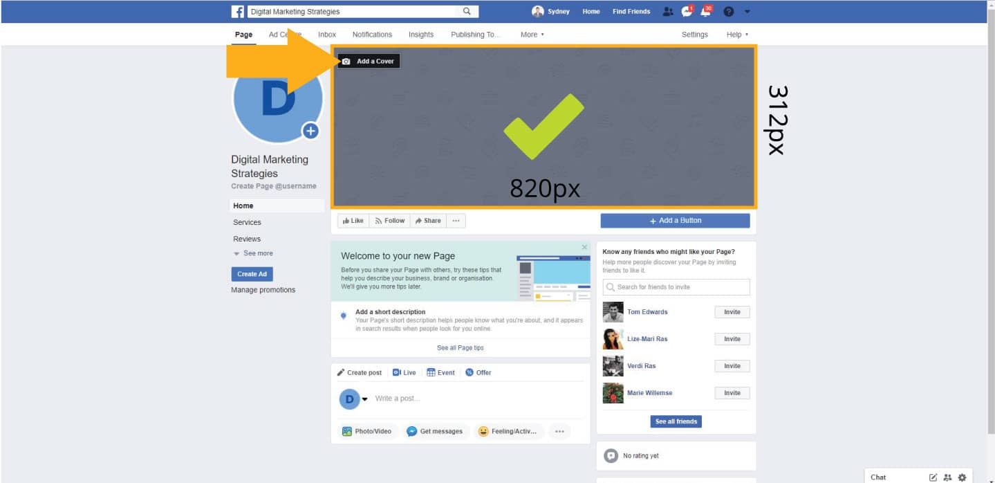 Changing your Facebook business page cover photo with the correct sizes