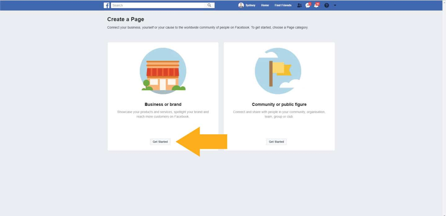 Select the type of Facebook page you want to create
